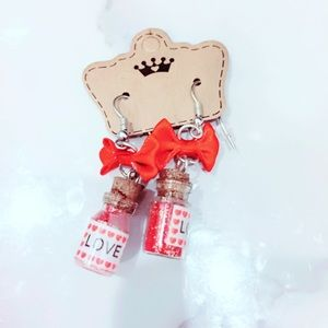 Red Love Bow Earrings